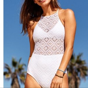 Never worn white crochet one piece by aerie